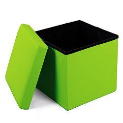 Geartist GOO1 Leather Folding Organizer Storage Ottoman Bench Footrest Stool Coffee Table Cube,  ...
