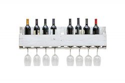 The Olivia Wine Rack, USA Handmade Reclaimed Wood – Wall Mounted, 8 Bottle 8 Long Stem Gla ...