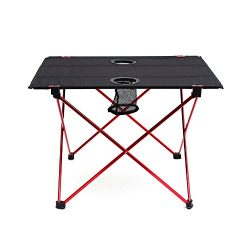 OUTRY Lightweight Folding Table with Cup Holders, Portable Camp Table (M – Unfolded: 22 ...