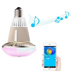 WOSUNG Latest Version Bluetooth Smart LED Light, Bulb Changeable Music Speaker and Smartphone Co ...