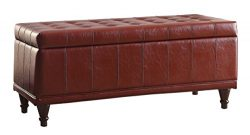 Homelegance Lift Cushioned Top Storage Bench with Tufted Accents Faux Leather, Red