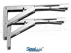 SeaLux New Style Wall Mount Folding Brackets 90 degree Shelf, Bench, Table Support Stainless Ste ...