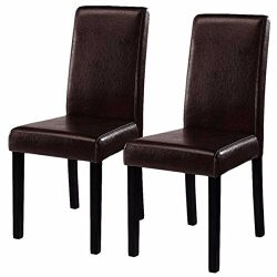 Set of 2 Elegant Design Leather Contemporary Dining Chairs Home Room