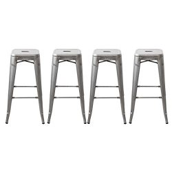 Buschman Set of Four Galvanized 30 Inches Counter Height Tolix-Style Metal Bar Stools, Indoor/Ou ...