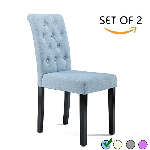 dagonhil button tufted upholstered fabric dining chairs set of 2 blue diningbee diningbee. Black Bedroom Furniture Sets. Home Design Ideas