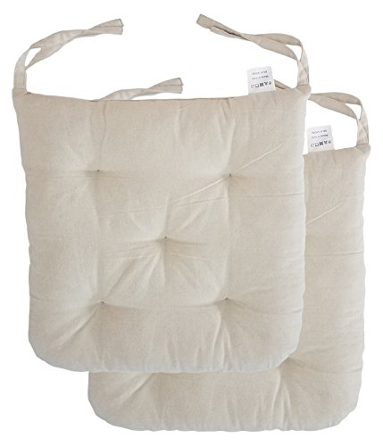 Cottone 100 Cotton Chair Pads W Ties Set Of 2 16 X 15 Round