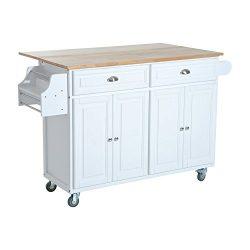 HomCom Rolling Kitchen Island Storage Cart w/ Drop Leaf Top – White