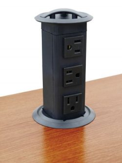 Power Pop-Up Station, three outlets, plastic, black