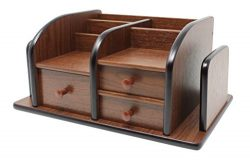 Cherry Brown Office Wooden Desk Organizer With 3 Drawers and Multiple Shelves/Racks for Office S ...