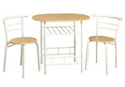 Target Marketing Systems 3 Piece Two-Toned  Bistro Dining Set with 2 Mid-Back Chairs and 1 Round ...