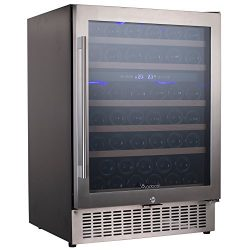 Aobosi Wine Cooler Refrigerator with 51 Bottles Dual Zones,Classy Look, Stainless Steel & Re ...