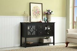 Mixcept 52″ Modern and Contemporary Wood Console Storage Tall TV Media Stand Sideboard Buf ...