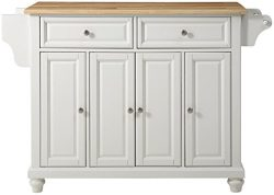 Crosley Furniture Cambridge Kitchen Island with Natural Wood Top – White