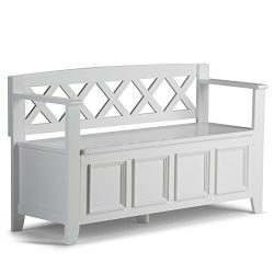 Simpli Home Amherst Solid Wood Entryway Storage Bench, White