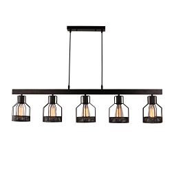 Unitary Brand Antique Black Metal Long Kitchen Island Light with 5 E26 Bulb Sockets 200W Painted ...