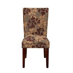 Kinfine K1136-F975 Parsons Classic Pattern Dining Chair Room Tables, Single Pack, Brown Sage Leaf