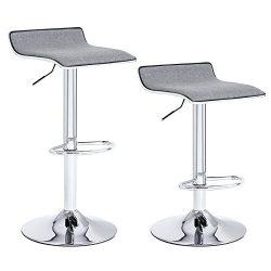 SONGMICS Set of 2 Adjustable Bar Stools with Linen Fabric Seat Swivel Breakfast Kitchen Stools U ...
