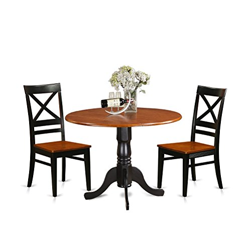 Kitchen Table And Chairs Dublin: East West Furniture DLQU3-BCH-W 3 Piece Dining Table And 2
