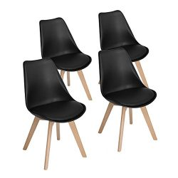 Modern Upholstered Eames Style Accent Dining Chairs Kitchen Chair with Soft Padded Seat Plastic  ...
