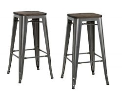 DHP Fusion Metal Backless Bar Stool with Wood Seat, Set of two, 30″, Grey