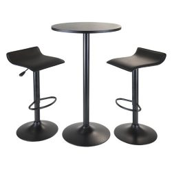 Winsome Obsidian 3-Piece Pub Set with Round Table and 2-Airlift Stools, Black