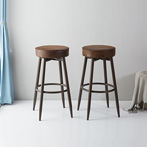 Black Metal Bar Stool With Brown Microfiber Seat By: DecoMate Metal Bar Stools Set Of 2, Swivel Chocolate