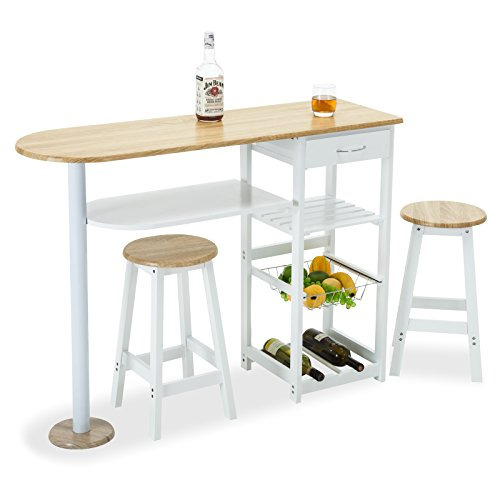 Mecor kitchen island trolley cart wooden table space saver - Space saving kitchen island ...