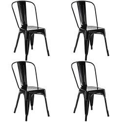 GentleShower Metal Dining Side Chair, Set of 4 Stackable Tolix Style Indoor-Outdoor Use Stackabl ...