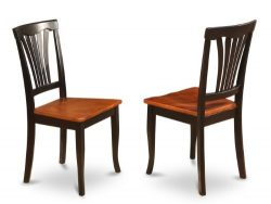 East West Furniture AVC-BLK-W Chair Set for Dining Room with Wood Seat, Black/Cherry Finish, Set ...