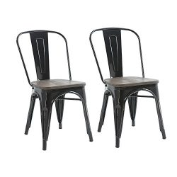 Buschman Set of Two Black Wooden Seat Tolix-Style Metal Indoor/Outdoor Stackable Chairs with Back