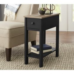 Laurel Accent Wooden Table With Under Storage Shelf and Drawer With Metal Knob, Black