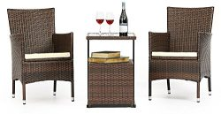 LAHAINA 3 Piece Wicker Bistro Set – All Weather Outdoor Dining Chairs Set of 2 & C Sha ...