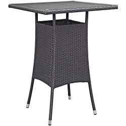 Modway Convene Wicker Rattan Outdoor Patio Small Square Bar Table in Espresso