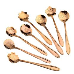 Set of 8 Flower Coffee Spoon Tea Spoon Dessert Spoons Scoop Stainless Steel Tableware Stirring/S ...