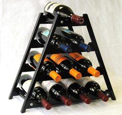 Wine Rack Wood -10 Bottles Hardwood Stand -Black