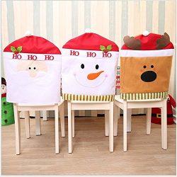 Chair Back Cover,Christmas Snowman Santa Claus and Santa Deer Chair Back Covers for Dining Room  ...