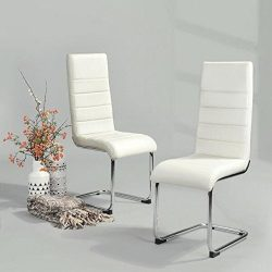 HouseinBox 2pcs White Faux Leather Dining Chairs with Chrome Legs Office Meeting Chairs Ribbed B ...