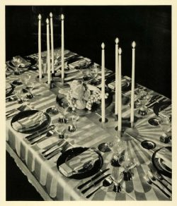1931 Print Dining Table Setting Thanksgiving Centerpiece Candles Holiday Decor – Original  ...