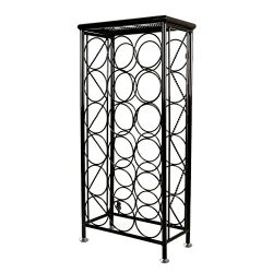 Sleek Modern Circles Design Black Metal 18 Bottle Holder Free Standing Wine Organizer Rack Cella ...
