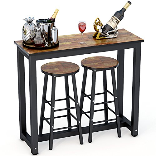 Living Room Table With Stools: Tribesigns 3-Piece Pub Table Set, Counter Height Dining