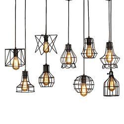 Industrial Hanging Pendant Light Fixture,E26 Adjustableb Vintage Pendant Lamp Cage Guard Holders ...