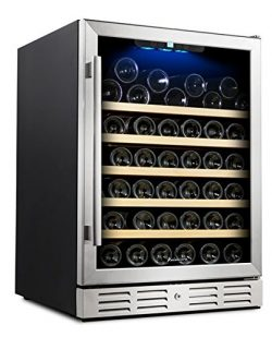"Kalamera 24"" Wine Cooler 54 Bottle Single Zone Touch Control Built-in with Tempered Glass Door"