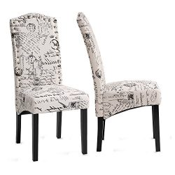 Merax Dining Chairs Script Fabric Accent Chair with Solid Wood Legs, Set of 2
