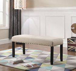 Roundhill Furniture CB162TA Biony Fabric Dining Bench with Nailhead Trim, Tan