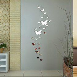 Wall Stickers ,Ikevan 1 Set 25pcs Mirror Wall Sticker Butterfly Decor DIY Art Mural Home Decor A ...
