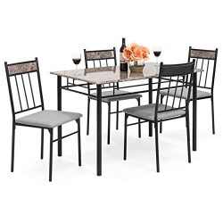 Best Choice Products 5-Piece Rectangle Faux Marble Dining Table Set w/ Steel Frame and 4 Upholst ...