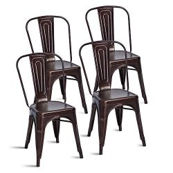 Merax Stackable Metal Dining Chairs Steel Side Chairs with Back, Set of 4 (Antique Copper)