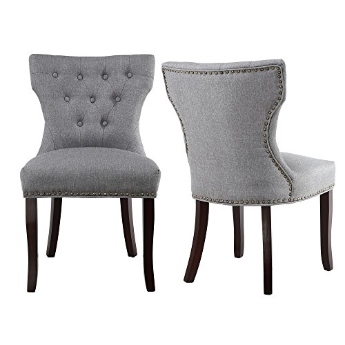 Lssbought Set Of 2 Fabric Dining Chairs Leisure Padded