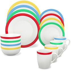 Vremi 16 Piece Dinnerware Set Service for 4 – Round Porcelain Dinner Plates Bowls Mugs and ...