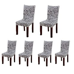 Jiuhong Stretch Removable Washable Short Dining Chair Protector Cover Slipcover (6, Style 02)